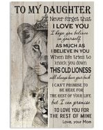 To My Daughter Never Forget That I Love You Lion Queen Vertical Poster