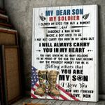 Dear My Son My Soldier I Closed My Eyes Boot Us Flag Matte Canvas