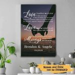 Custom Name And Year Love Is Patient Hold Hand Matte Canvas