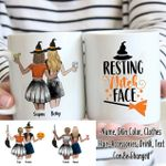 Custom Name And Photo Resting Witch Face White Printed Mug