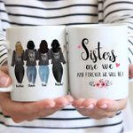 Custom Name And Photo Sisters Are We Flower White Printed Mug