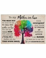 To Mother In Law Your Warm Smiles Colorful Tree Horizontal Poster