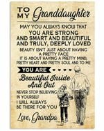 Grandpa To My Granddaughter You Are Beautiful Beige Vertical Poster