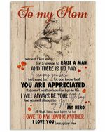 Son To My Mom Be Your Little Boy Heart Pattern Vertical Poster
