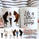 Custom Name And Photo Girl And Horse Life Is Better White Printed Mug