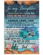 To My Daughter I Love You Turtle Ocean World Vertical Poster