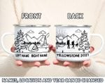 Custom Name Location And Year Black And White Pattern Campfire Mug