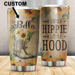 A Little Hippie Boots Sunflowers Custom Name Stainless Steel Tumbler