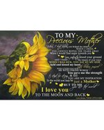 To Precious Mom From Daughter I Love You Sunflower Horizontal Poster