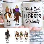 Custom Name And Photo Thank God For Horses And Friends White Printed Mug