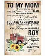 To Mom Your Little Boy Red Truck Pattern Vertical Poster