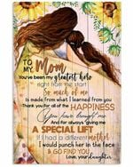 To My Mom My Greatest Hero Sunflowers Vertical Poster
