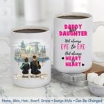 Custom Name And Photo Daddy And Daughter Heart To Heart Printed Mug