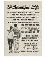To My Wife I Will Always Be With You Couple Beige Vertical Poster