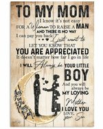 To Mom I Love You Your Little Boy Moon Vertical Poster
