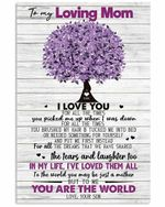 Loving Mom You Are The World Purple Tree Pattern Vertical Poster