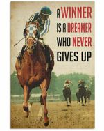 A Racing Horse Winner Never Gives Up Vertical Poster