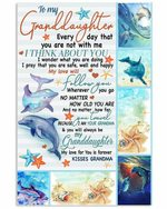 To My Granddaughter Think About You Dolphins Pattern vertical Poster