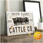 Custom Name And Year Cattle Co White Matte Canvas