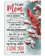 To My Mom From Son Pay You Back Cardinal Birds Vertical Poster