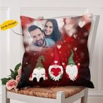 Cute Short Gnomes Valentine's Day Gift For Couple Printed Cushion Pillow Cover Custom Photo