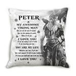 Custom Name Gift For Husband Printed Cushion Pillow Cover My Awesome Viking Man