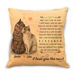 Gift For Couple Cushion Pillow Cover Custom Name Cat Couple I Love You The Most