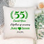 55 Emerald Years Cushion Pillow Cover Gift Custom Name