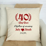 40 Ruby Years Cushion Pillow Cover Gift Custom Name