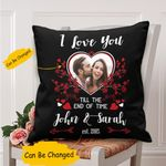 Custom Name And Photo Till The End Of Time Gift For Couple Cushion Pillow Cover