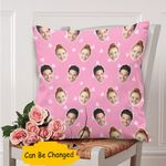 Custom Photo Gift For Husband Printed Cushion Pillow Cover Heart Cute Pink Background