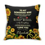 You Are My Everything Sunflower Custom Name Gift For Wife Printed Cushion Pillow Cover