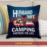 Gift For Husband Printed Cushion Pillow Cover Custom Photo Camping Partners For Life