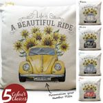 A Beautiful Ride Sunflower And Car Printed Cushion Pillow Cover