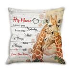 Custom Name Cushion Pillow Cover Gift Loved You Yesterday Giraffe Couple