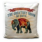 Greatest Show On Earth Vintage Victorian Circus Elephant Printed Cushion Pillow Cover