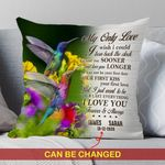 Custom Name And Numbers Cushion Pillow Cover Gift My Only Love Hummingbird