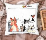 Cute Cats Together Forever Printed Cushion Pillow Cover