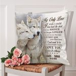 Custom Name And Numbers Cushion Pillow Cover Gift My Only Love Wolf