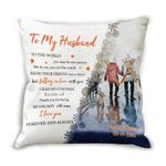Custom Name Cushion Pillow Cover Thank You For Being My Grumpy Old Man Skiing Couple