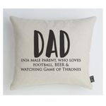 Male Parent Who Loves Football Printed Cushion Pillow Cover Gift For Papa