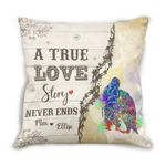 Custom Name Cushion Pillow Cover Gift A True Love Story Penguin