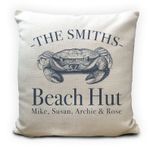 Custom Name Beach Huts Seaside Family Holiday Home Printed Cushion Pillow Cover