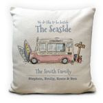 Custom Name Ice Cream Van Seaside Family Summer Holiday Printed Cushion Pillow Cover