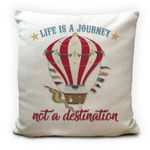 Life Is A Journey Vintage Hot Air Balloon Printed Cushion Pillow Cover