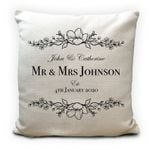 Custom Name Wedding Anniversary Gift Mr And Mrs Printed Cushion Pillow Cover