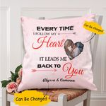 Custom Photo And Name Gift For Husband Printed Cushion Pillow Cover Follow My Heart