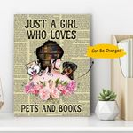 Custom Photo Girl Loves Pets And Books Gift For Dog Lovers Matte Canvas