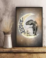 T Rex Love You To The Moon Matte Canvas Gift