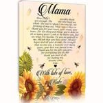 With Lots Of Love Sunflower Custom Name Matte Canvas Gift For Mama
